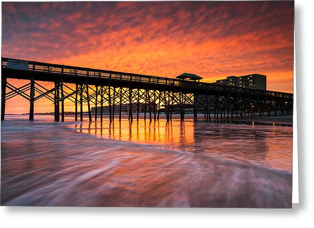 Charleston Greeting Cards - Folly Beach Pier and Waterfront Development Charleston South Carolina Greeting Card by Mark VanDyke