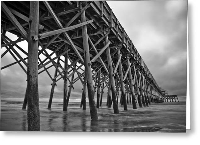South Carolina Greeting Cards - Folly Beach Pier Black and White Greeting Card by Dustin K Ryan