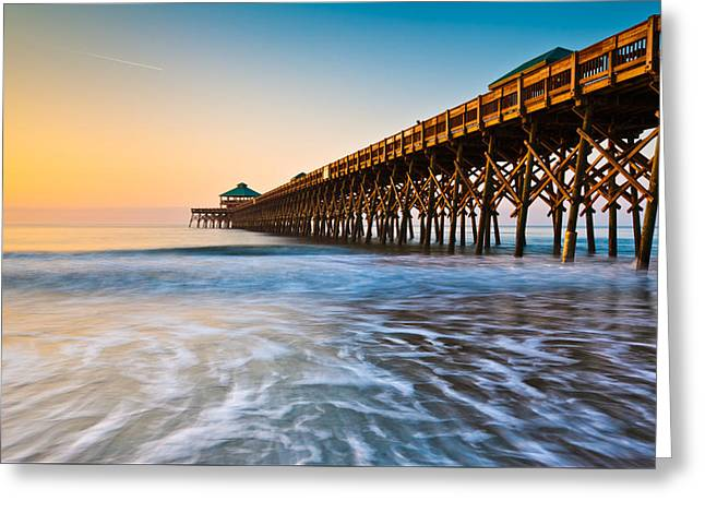 Glowing Water Greeting Cards - Folly Beach Pier Charleston SC Coast Atlantic Ocean Pastel Sunrise Greeting Card by Dave Allen