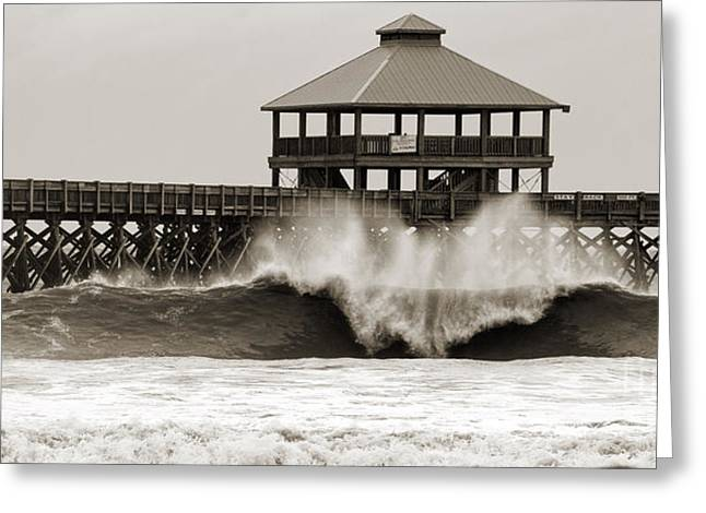 Folly Beach Pier Hurricane Irene 2011 Greeting Card by Dustin K Ryan