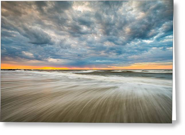 Dave Greeting Cards - Folly Beach Sunrise Charleston SC Seascape Greeting Card by Dave Allen