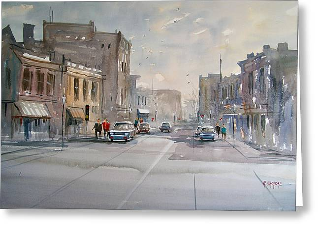 Watercolor Figure Greeting Cards - Fond du Lac - Main Street Greeting Card by Ryan Radke