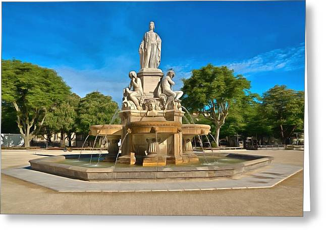 Europe Mixed Media Greeting Cards - Fontaine De Pradier 1 Greeting Card by Scott Carruthers