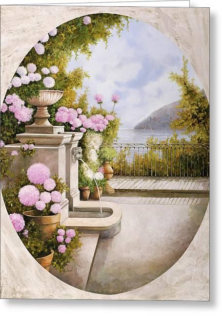 Fontana Sul Terrazzo Greeting Card by Guido Borelli