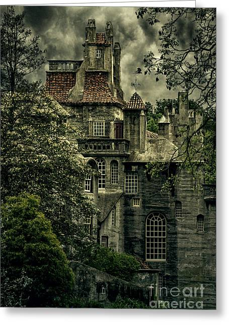 Overcast Day Greeting Cards - Fonthill with Storm Clouds Greeting Card by Debra Fedchin