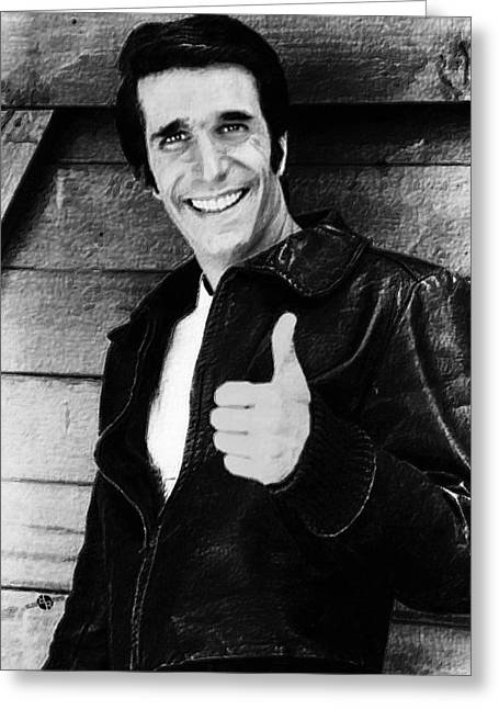 1950s Portraits Greeting Cards - Fonzie Happy Days Black And White Painting Greeting Card by Tony Rubino
