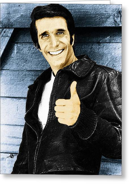 1950s Portraits Greeting Cards - Fonzie Happy Days Painting Greeting Card by Tony Rubino