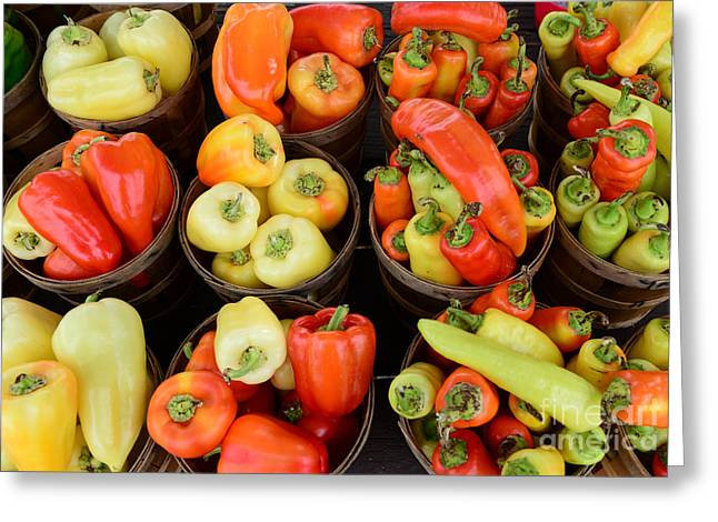 Fresh Food Photographs Greeting Cards - Food - Peppers Greeting Card by Paul Ward