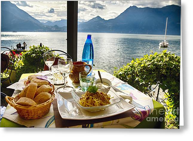 Northern Italy Greeting Cards - Food on a Table with a View Greeting Card by George Oze