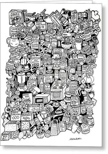 Hamburger Drawings Greeting Cards - Food Stuff N Things Greeting Card by Chelsea Geldean