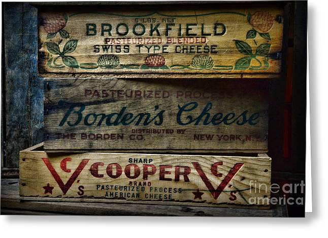 Swiss Cheese Greeting Cards - Food - Vintage Wooden Cheese Boxes Greeting Card by Paul Ward