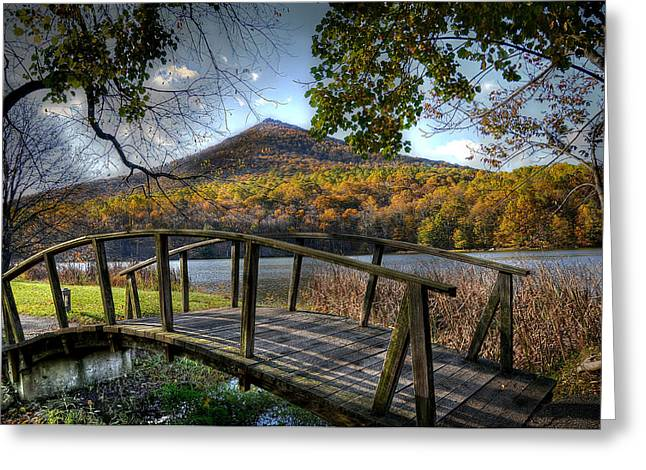 Bedford Greeting Cards - Foot Bridge Greeting Card by Todd Hostetter