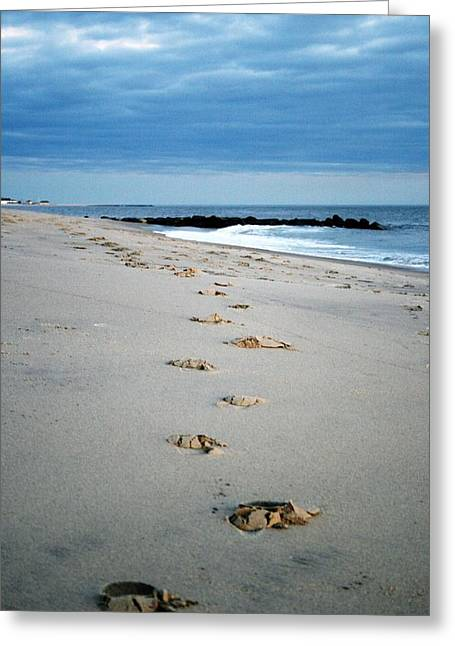 Rock Pile Greeting Cards - Foot Steps Greeting Card by Amanda Romolini