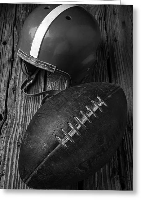 Football And Helmet In Black And White Greeting Card by Garry Gay
