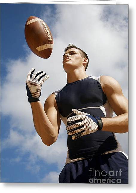 Physical Body Greeting Cards - Football Athlete I Greeting Card by Kicka Witte - Printscapes