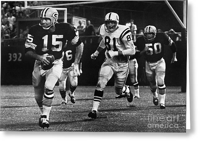 Goalpost Greeting Cards - Football Game, 1966 Greeting Card by Granger