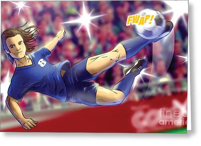 Girls Soccer Art Greeting Cards - Football Greeting Card by Hanan Evyasaf
