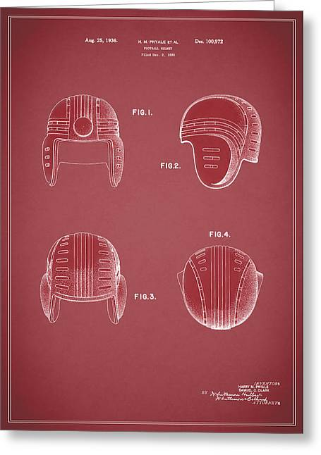 Football Helmets Greeting Cards - Football Helmet 1935 - Red Greeting Card by Mark Rogan