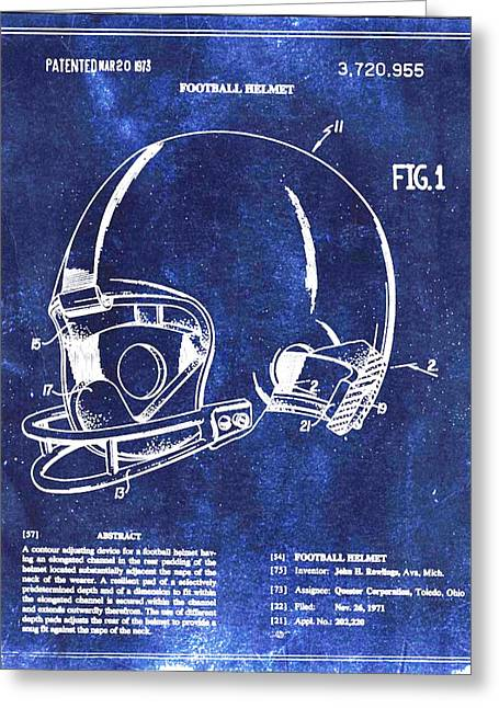 Gears Mixed Media Greeting Cards - Football Helmet Patent Blueprint Drawing Greeting Card by Tony Rubino