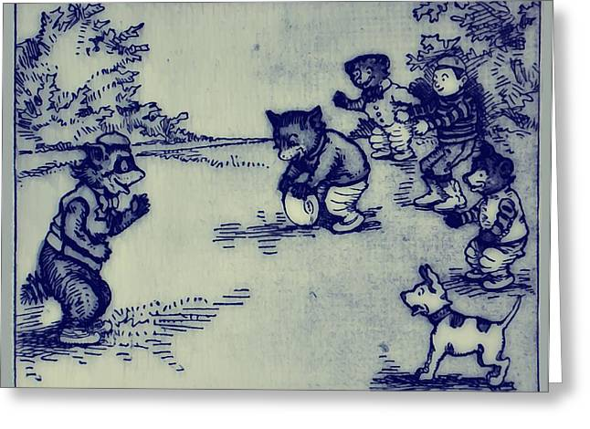 Ink Drawing Greeting Cards - Football In The Park Greeting Card by Bill Cannon
