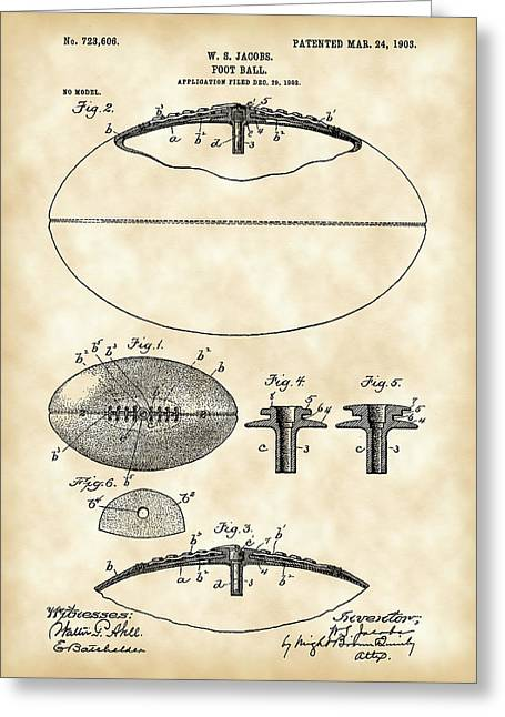 Pro Football Digital Greeting Cards - Football Patent 1902 - Vintage Greeting Card by Stephen Younts