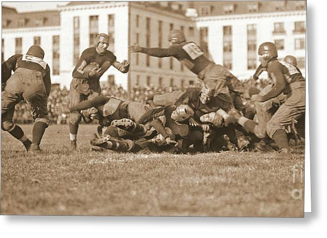 Ewing Greeting Cards - Football Play 1920 Sepia Greeting Card by Padre Art