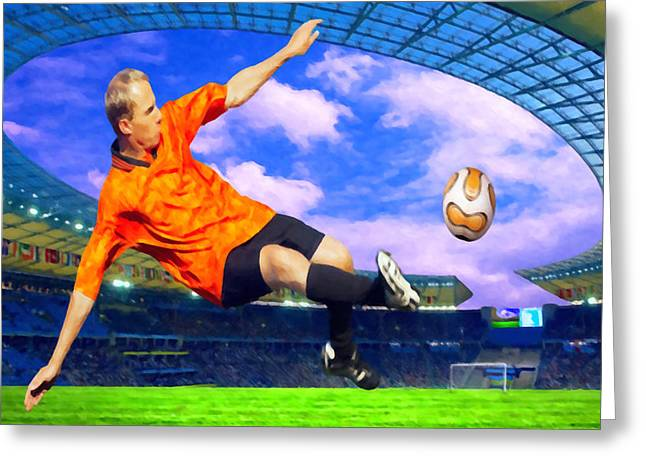 Goalkeeper Paintings Greeting Cards - Football player on field of stadium Greeting Card by Lanjee Chee