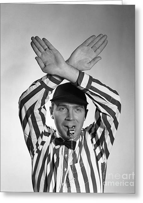 Football Referee, 1950s Greeting Card by Debrocke/ClassicStock
