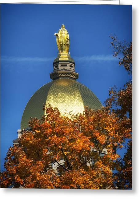 Indiana Autumn Greeting Cards - Football Saturday And The Golden Dome Of Notre Dame Greeting Card by Mountain Dreams
