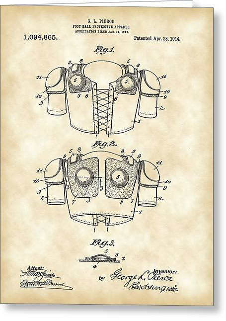 Pig Skin Greeting Cards - Football Shoulder Pads Patent 1913 - Vintage Greeting Card by Stephen Younts