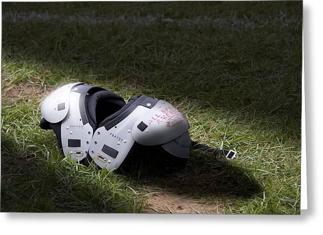 Football Field Greeting Cards - Football Shoulder Pads Greeting Card by Tom Mc Nemar