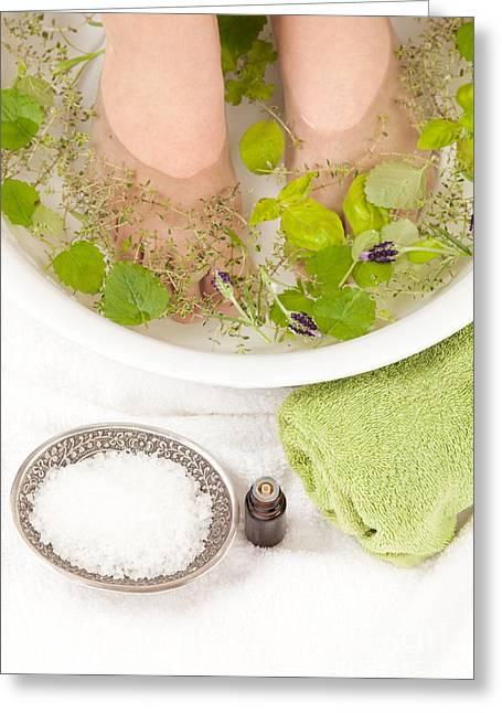 Footbath Greeting Cards - Footbath with essential oils Greeting Card by Wolfgang Steiner