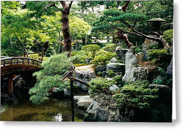 Kyoto Prefecture Greeting Cards - Footbridge Across A Pond, Kyoto Greeting Card by Panoramic Images
