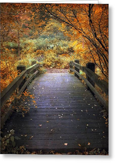 Seasonal Greeting Cards - Footbridge Canopy Greeting Card by Jessica Jenney