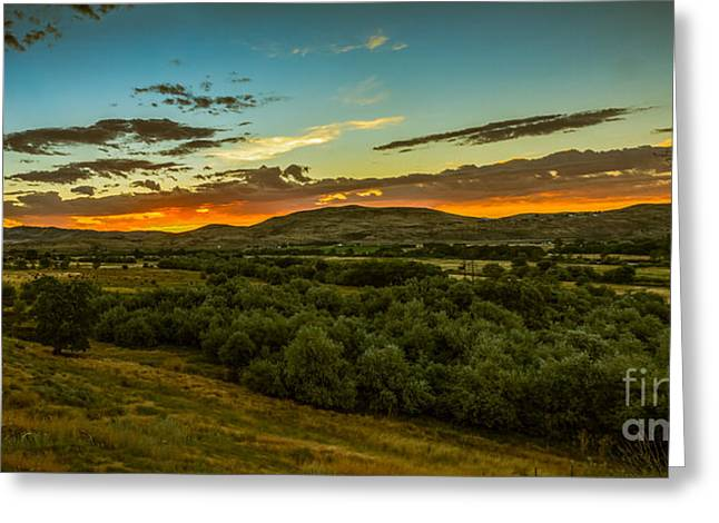 Haybales Greeting Cards - Foothills Sunrise Greeting Card by Robert Bales