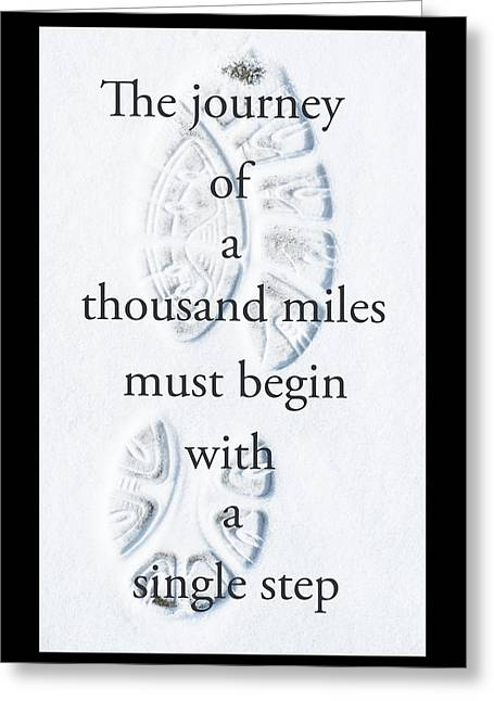 Clever Greeting Cards - Footprint in Snow with Inspirational Text Greeting Card by Donald  Erickson