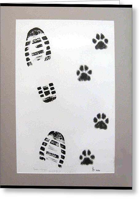 Footprints Drawings Greeting Cards - Footprints- Friends Greeting Card by Dragica  Micki Fortuna