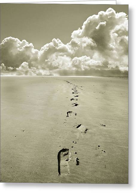 Foot Steps Greeting Cards - Footprints in sand Greeting Card by Mal Bray
