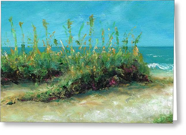 Sand Dunes Paintings Greeting Cards - Footprints In The Sand Greeting Card by Frances Marino