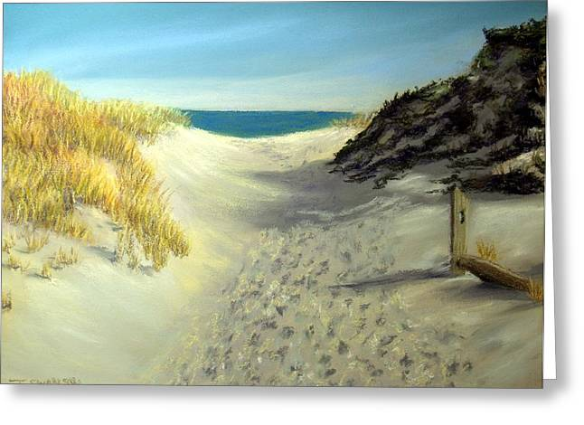 Sand Dunes Pastels Greeting Cards - Footprints in the Sand Greeting Card by Joan Swanson