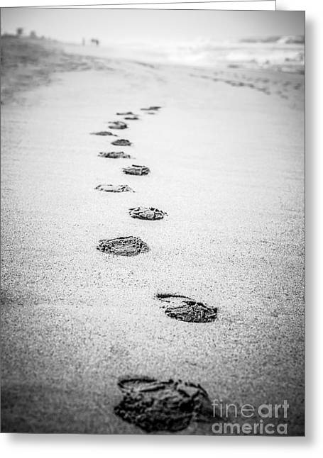 Footsteps Greeting Cards - Footprints in the Sand Picture in Black and White  Greeting Card by Paul Velgos