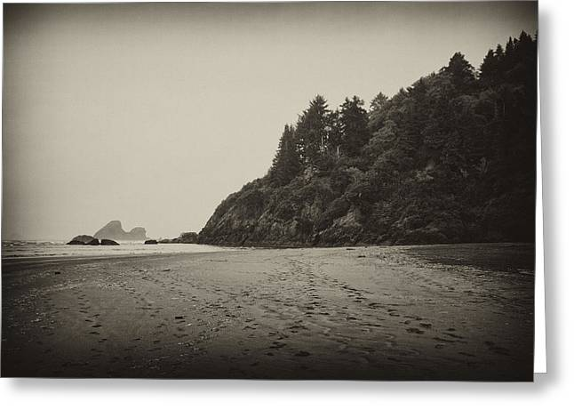 California Beaches Greeting Cards - Footprints on Moonstone Beach Greeting Card by Hugh Smith