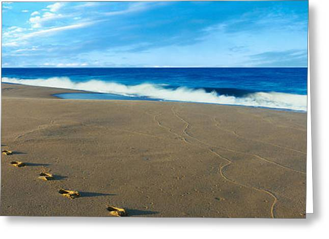 Footprints On The Beach, Playa La Greeting Card by Panoramic Images