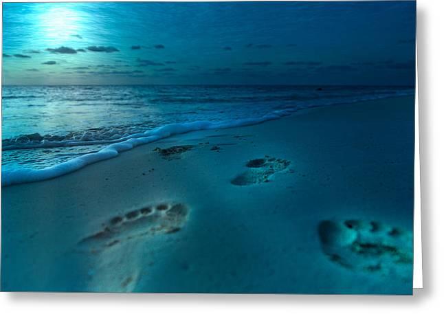 Footprints To Paradise Greeting Card by Betsy Knapp