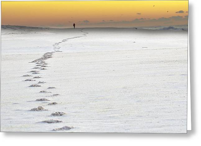 Babylon Greeting Cards - Footprints to Sunrise Greeting Card by Vicki Jauron