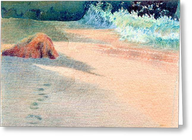 Sand Pattern Drawings Greeting Cards - Footsteps in the Sand  Greeting Card by Elizabetha Fox