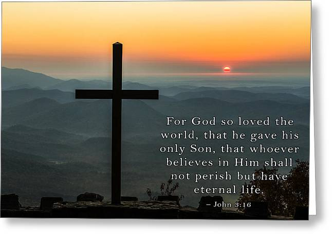 Motivational Poster Greeting Cards - For God So Loved The World Greeting Card by David Simchock