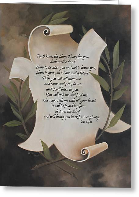 Becky Greeting Cards - For I know the plans I have for you Greeting Card by Becky West
