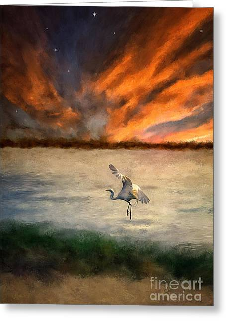Egret Greeting Cards - For Just This One Moment Greeting Card by Lois Bryan