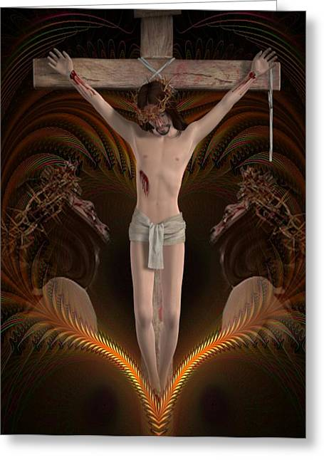 For Our Sins  Greeting Card by Ali Oppy